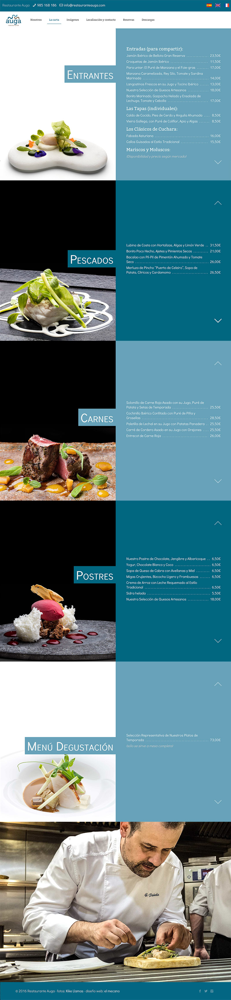 diseño web carta restaurante auga Gijón